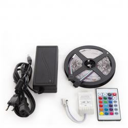 Kit Tira 150 LEDs 36W RGB Blister Transformador, Controlador, Mando a Distancia IP25