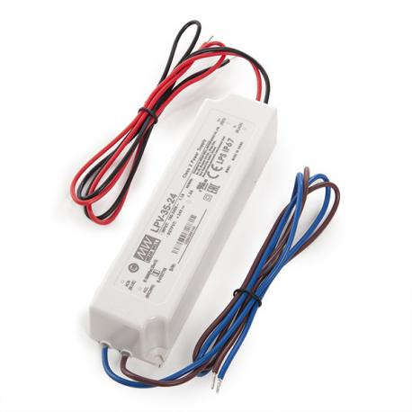 Transformador LED Meanwell 35W 230VAC/24VDC IP67 - Imagen 1