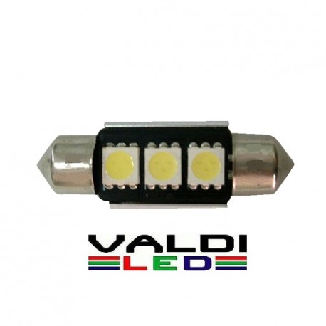 BOMBILLA DE PLAFÓN 36MM 3 LED CANBUS